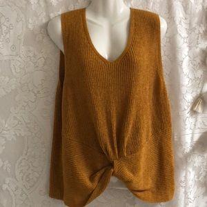 Marled mustard tank top sweater sz XL twisted
